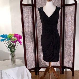 Aidan Mattox black sleeveless party dress.